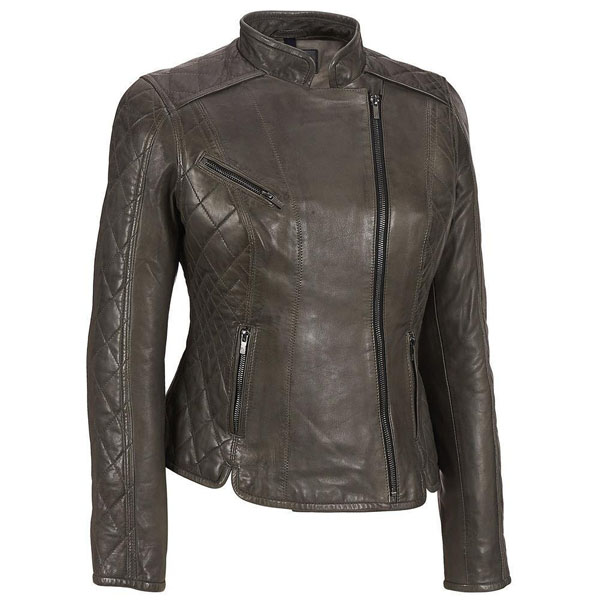 Womens Asymmetric Quilted Sleeve Leather Jacket